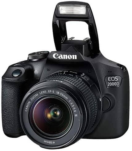 Canon EOS 2000D Rebel T7 Digital SLR Camera Body wCanon EF S 18 55mm f3.5 5.6 Lens 3 Lens DSLR Kit Bundled with Complete Accessory Bundle 64GB Flash Case More International Model