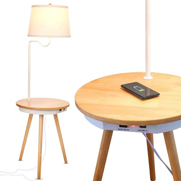 Brightech Owen - End Table with Lamp for Living Rooms, Wireless Charging Station & USB Ports Built in - Wood Nightstand : Side Table & LED Reading Light Attached for Bedrooms - Mid Century Modern