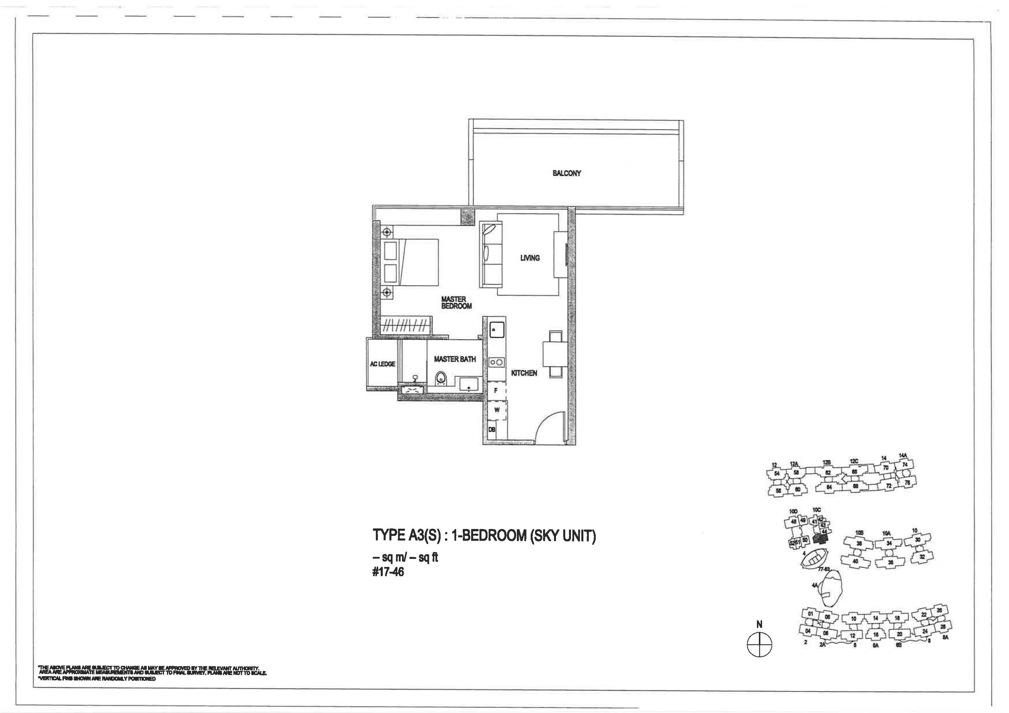 The Minton 1 Bedroom Floor Plans Type A3(S)