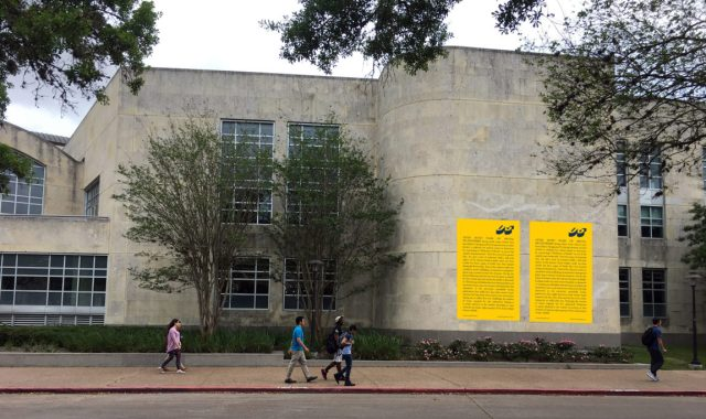 The Miraculous Houston at the University of Houston Honors College with text about artist Marta Minujin, in Spanish and English