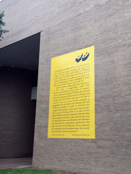The Miraculous Houston by Heather Bause & Raphael Rubinstein at the University of Houston Fine Arts Building | Artist: Bas Jan Ader
