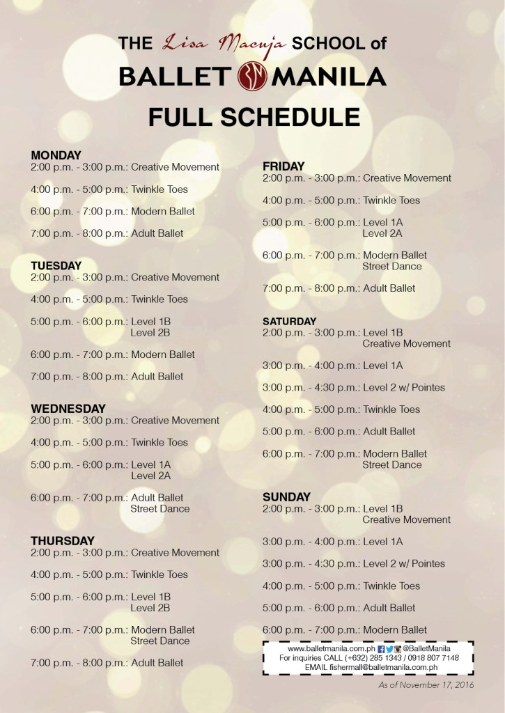 ballet manila fisher mall class schedule
