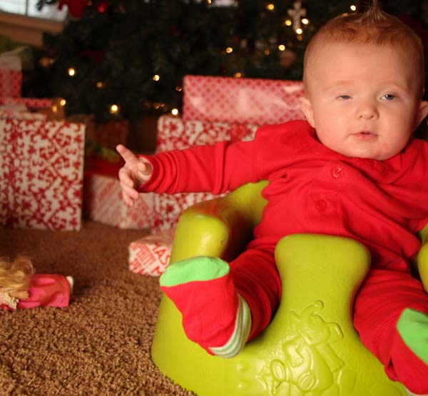 tired baby's first christmas