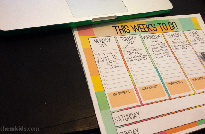 Free Weekly Planner For Kids