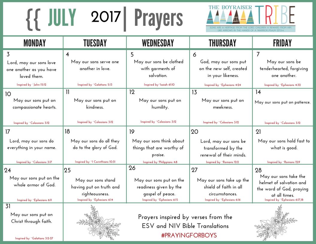 Tribe Prayer Calendar