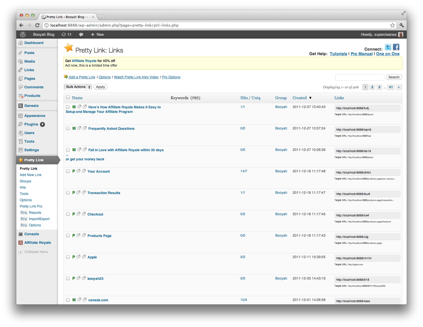 Image of Pretty Link Pro Link Pro Dashboard
