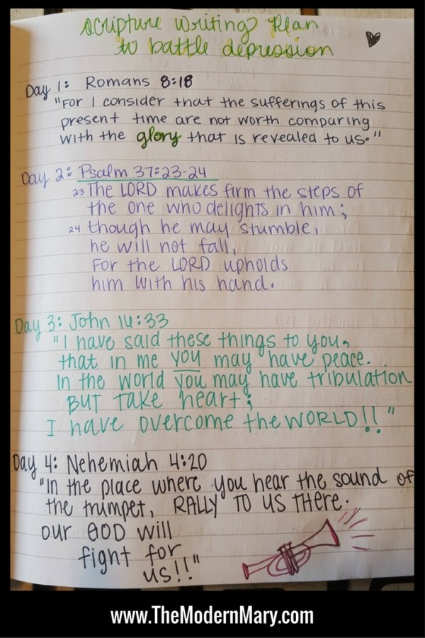 Scripture Writing Plan to Battle Depression