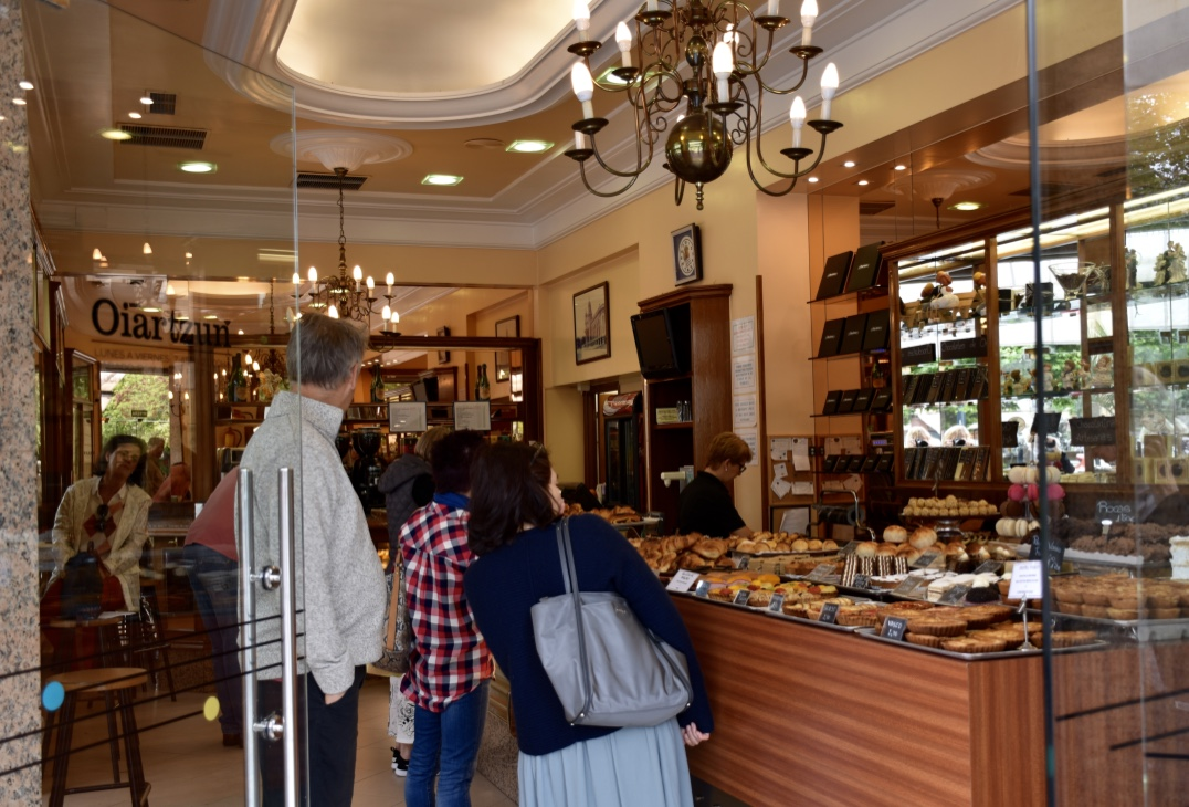 Pasteleria Oiartzun's enticing counter of pastries and chocolates.