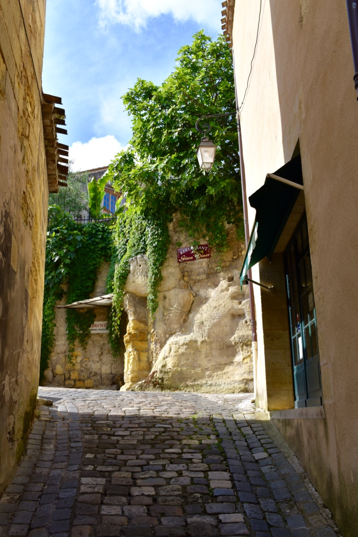 A cobblestone street in Saint-Emilion, France.