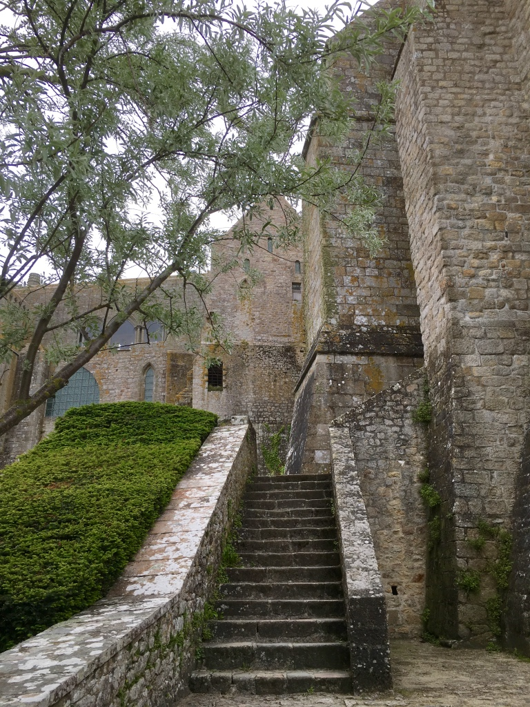 mont saint michel outside stairs