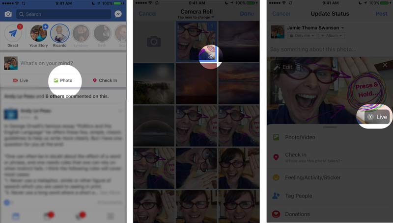 how to upload live photos and images to facebook for a press and hold reveal post