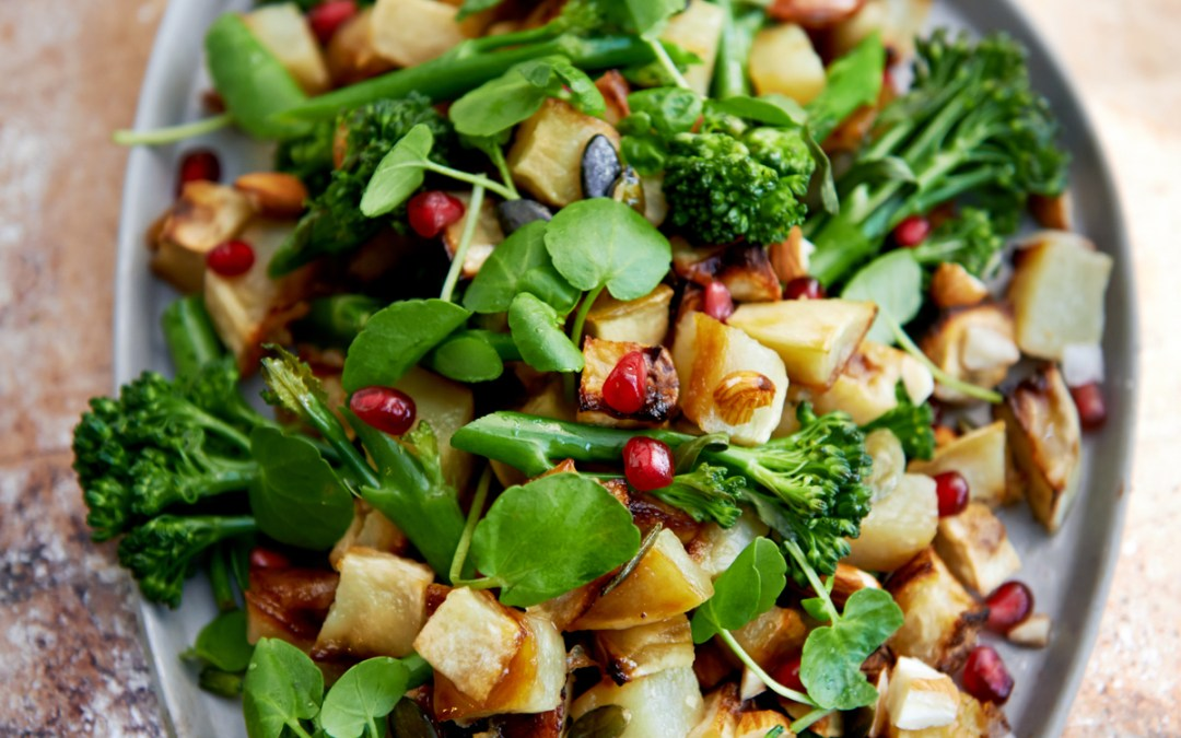 Nell's kitchen |Sweet Potato, Broccoli and Pomegranate Salad