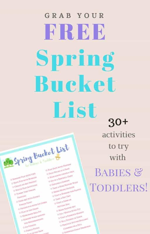 FREE Printable of over 30 great ideas for spring time fun with kids, all in a handy checklist! Ideas for playing with baby, toddler activities, family-friendly outings | themomfriend.com