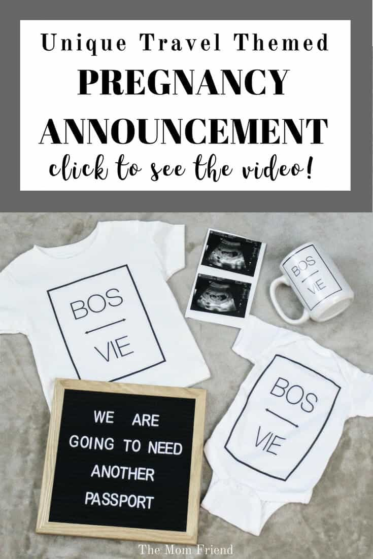 Excited to share your news abut a NEW BABY? This fun and unique travel themed pregnancy announcement is a great way to announce your pregnancy to a husband, family or friends on social media! #pregnancyannouncement #pregnancy #pregnancytips