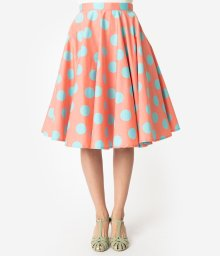 https://www.unique-vintage.com/products/1950s-style-coral-pink-turquoise-polka-dot-cotton-swing-skirt