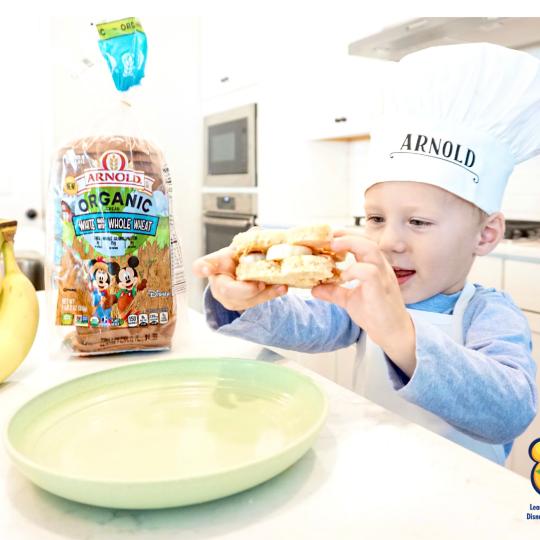 Peanut Butter & Banana Sandwich Bites with Arnold Organic Bread