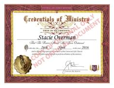 Ordained Minister Stacie Overman