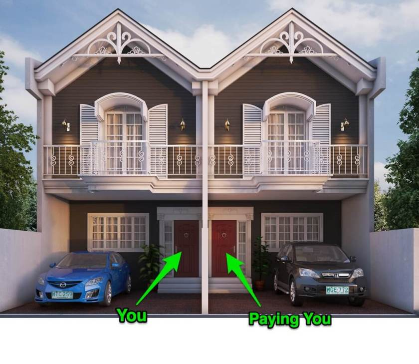 Own a duplex and live in one side. Rent out the other side for passive income