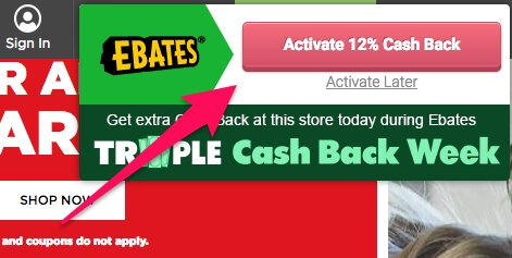 Active cash back from Chrome Ebates extension