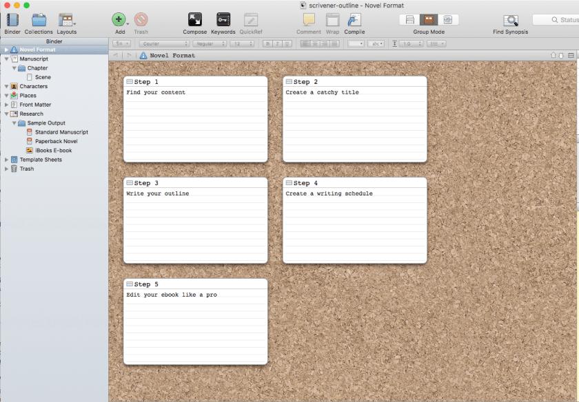 L'utilisation d'un outil comme Scrivener simplifie la présentation de votre ebook