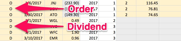 How to input a dividend transaction vs. an order transaction