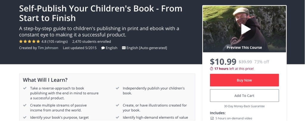 Udemy Course to Self Publish a Childrens Book
