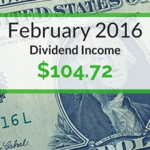 Dividend Income We Earned for February 2016