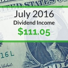 Dividend Income We Earned for July 2016
