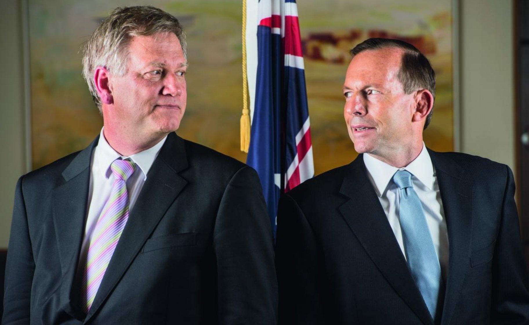 Andrew Bolt and Tony Abbott. © Jason Edwards / Newspix