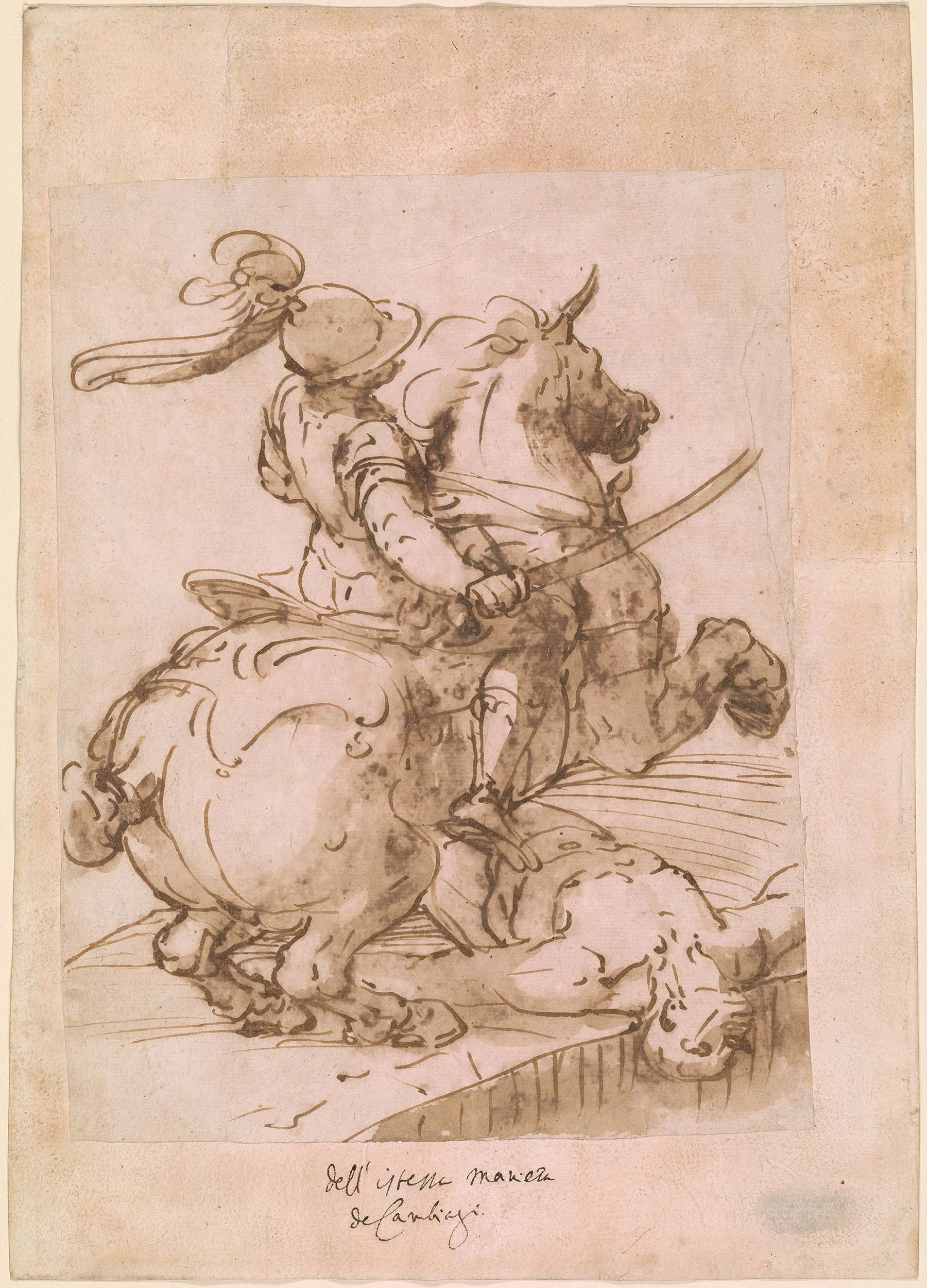 Luca Cambiaso Soldier On A Rearing Horse With Supine Man
