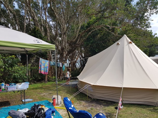 camping in our 5 meter belltent - crowdy bay national park - diamond head walk in area