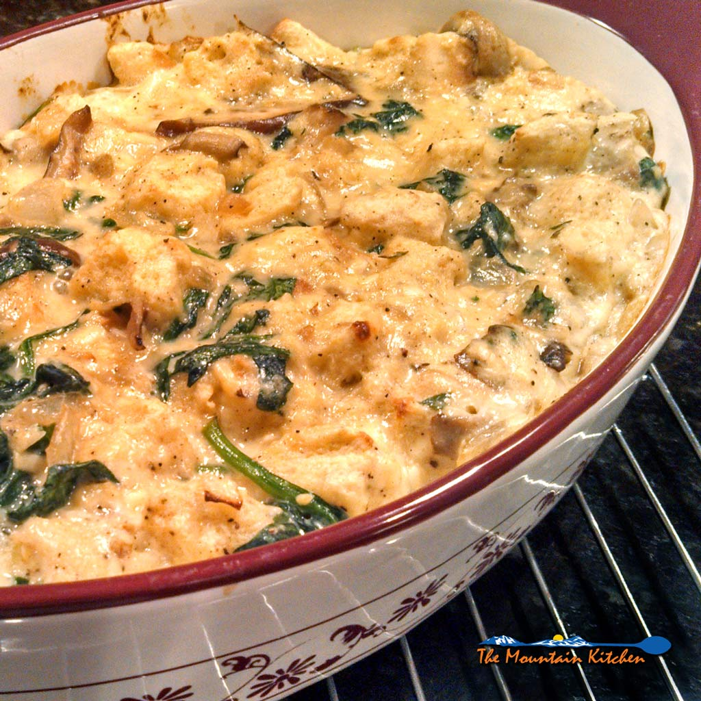 Mushroom Spinach Strata with Smoked Gouda {A Meatless Monday Recipe