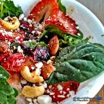 This Strawberry Spinach Salad is a flavor explosion of sweet, salty, sour, crunchy and creamy all in one bowl. Try this recipe today for Meatless Monday! | TheMountainKitchen.com