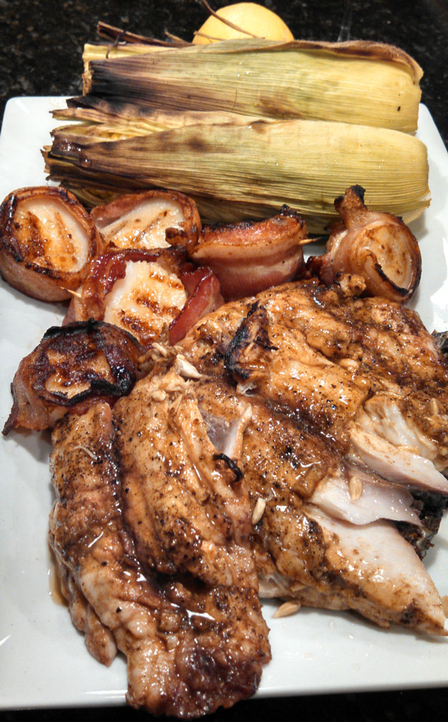 Recipes for preparing grilled red snapper and bacon wrapped scallops. The only seasoning needed was freshly squeezed lemon juice and Al's Stolen Fish Sauce.   TheMountainKitchen.com