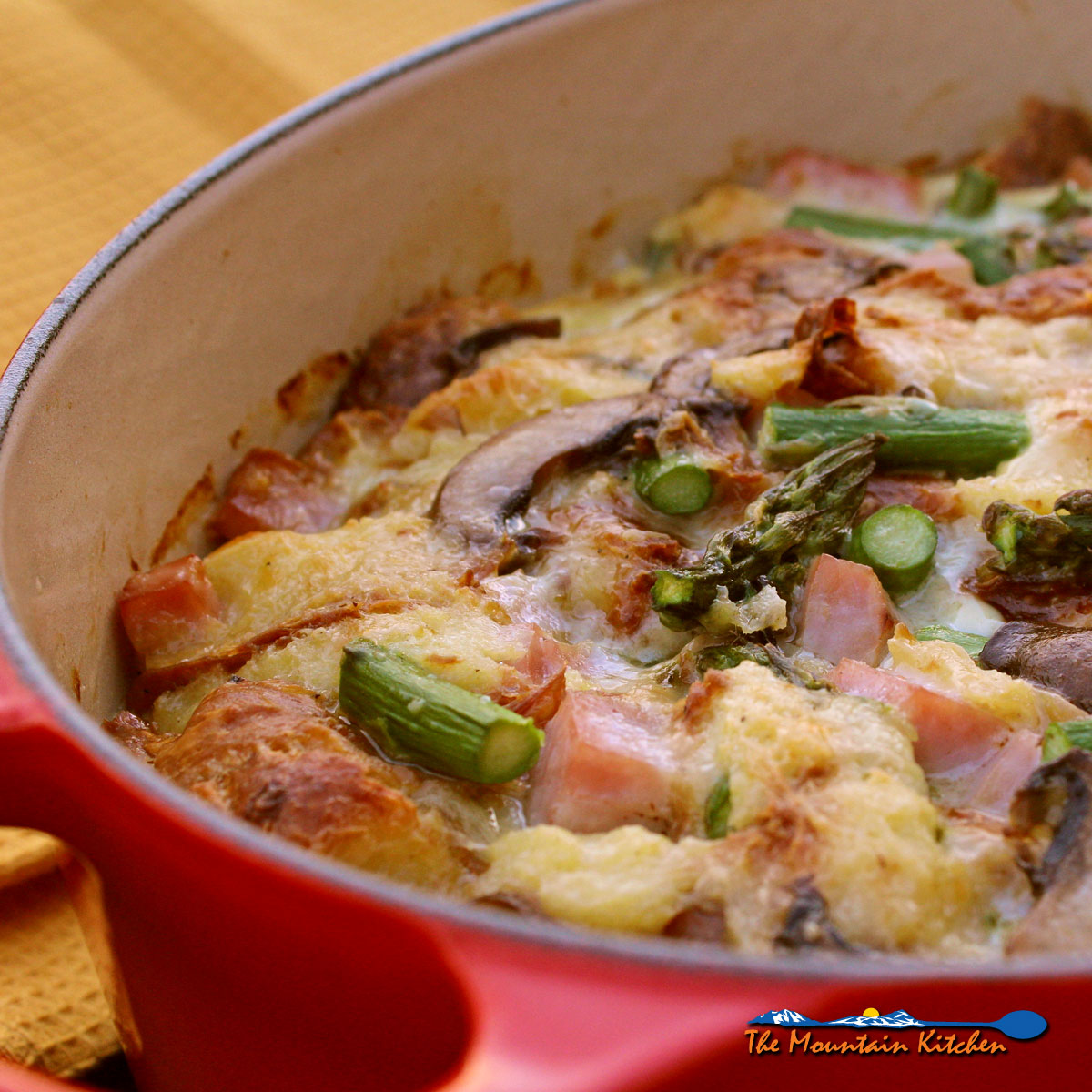 Savory Bread Pudding With Ham Asparagus and Mushrooms