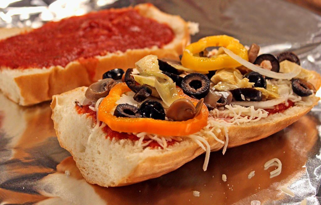 vegetables added to French bread