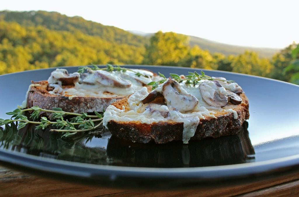 Roasted Mushroom Cheese Toasts