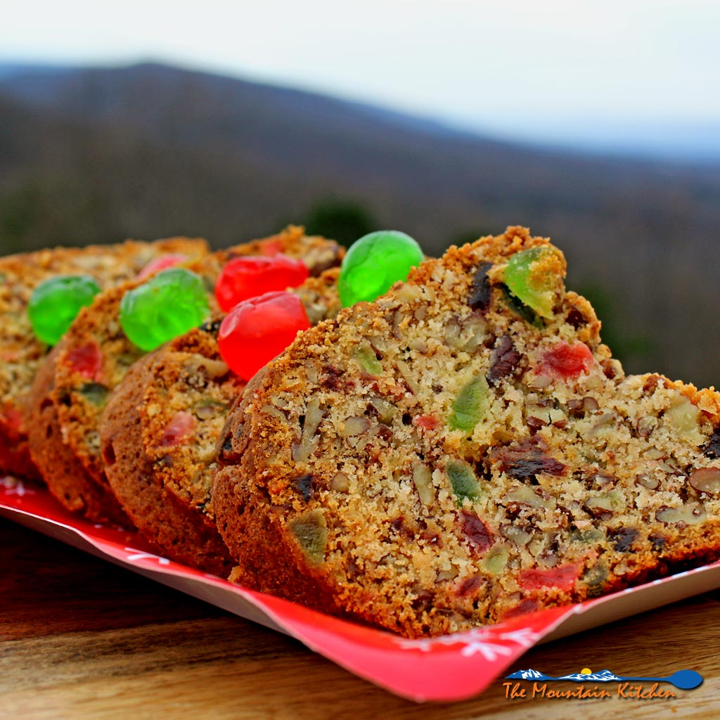 Mama's pecan fruitcake is a dense soft cake studded with pecans, dates and candied cherries. It's the best fruitcake ever! | TheMountainKitchen.com