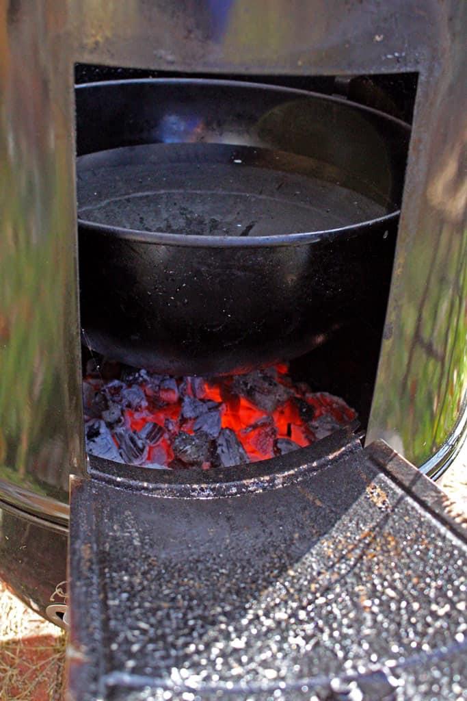 hot coals inside smoker