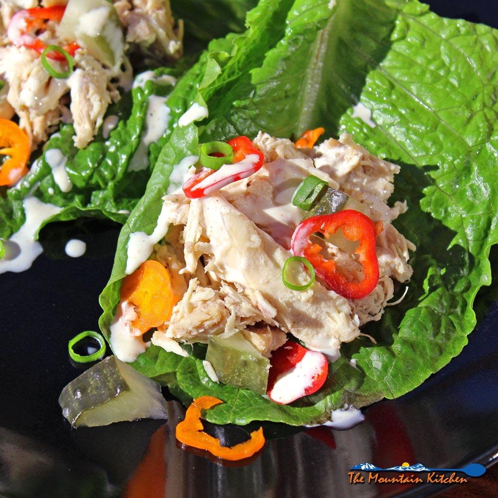 Saucy Crock-Pot Chicken Salad Lettuce Wraps