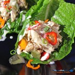 These saucy crock-pot chicken salad lettuce wraps are light lean and a tasty way to spice up your next lunch. They come together quickly and are delicious!