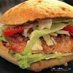 Grilled chicken Caesar sandwiches with juicy grilled chicken, on crisp ciabatta bread, with Caesar dressing, cheese, and pepperoni slices. Amazing! | TheMountainKitchen.com