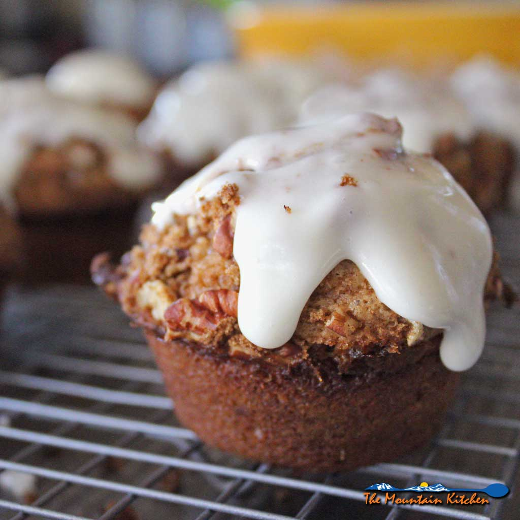 A great breakfast or snack, these gooey sweet cinnamon roll muffins, you get all the cinnamony goodness of a cinnamon roll without the work! Easy and yummy! | The MountainKitchen.com