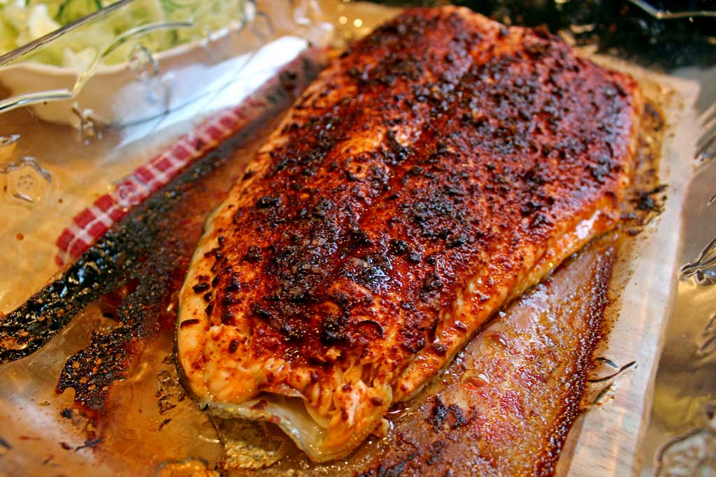 salmon fillet ready to make Ina's Salmon Tacos