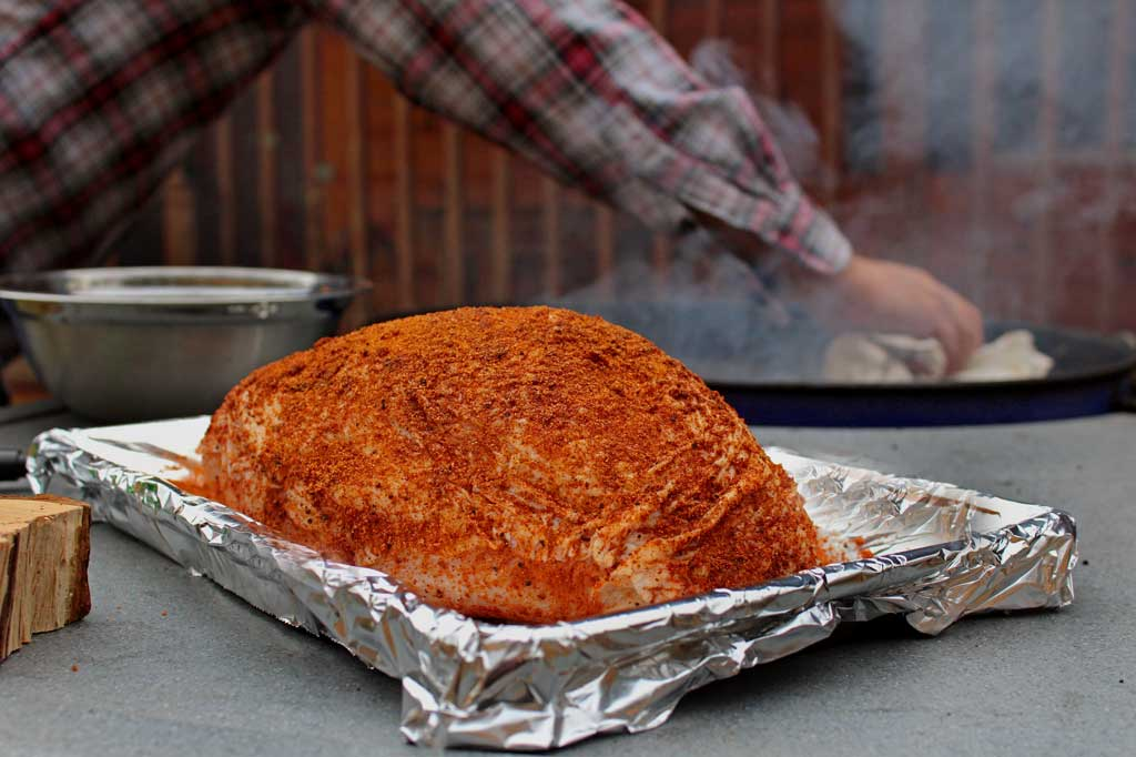 With very little effort required, this pecan applewood smoked turkey breast is rubbed with a simple poultry seasoning, smoked over a pan of cranberry infused water for a moist smoking environment, with smoky coals, pecan wood chunks, andwet applewood chips. Tender, juicy turkey like no other!   TheMountainKitchen.com