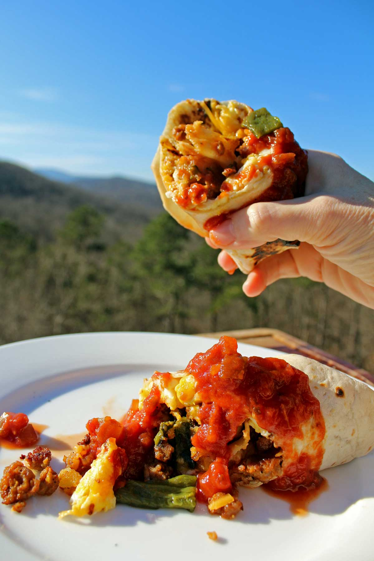 breakfast burrito with hand holding one half in front of the mountain view