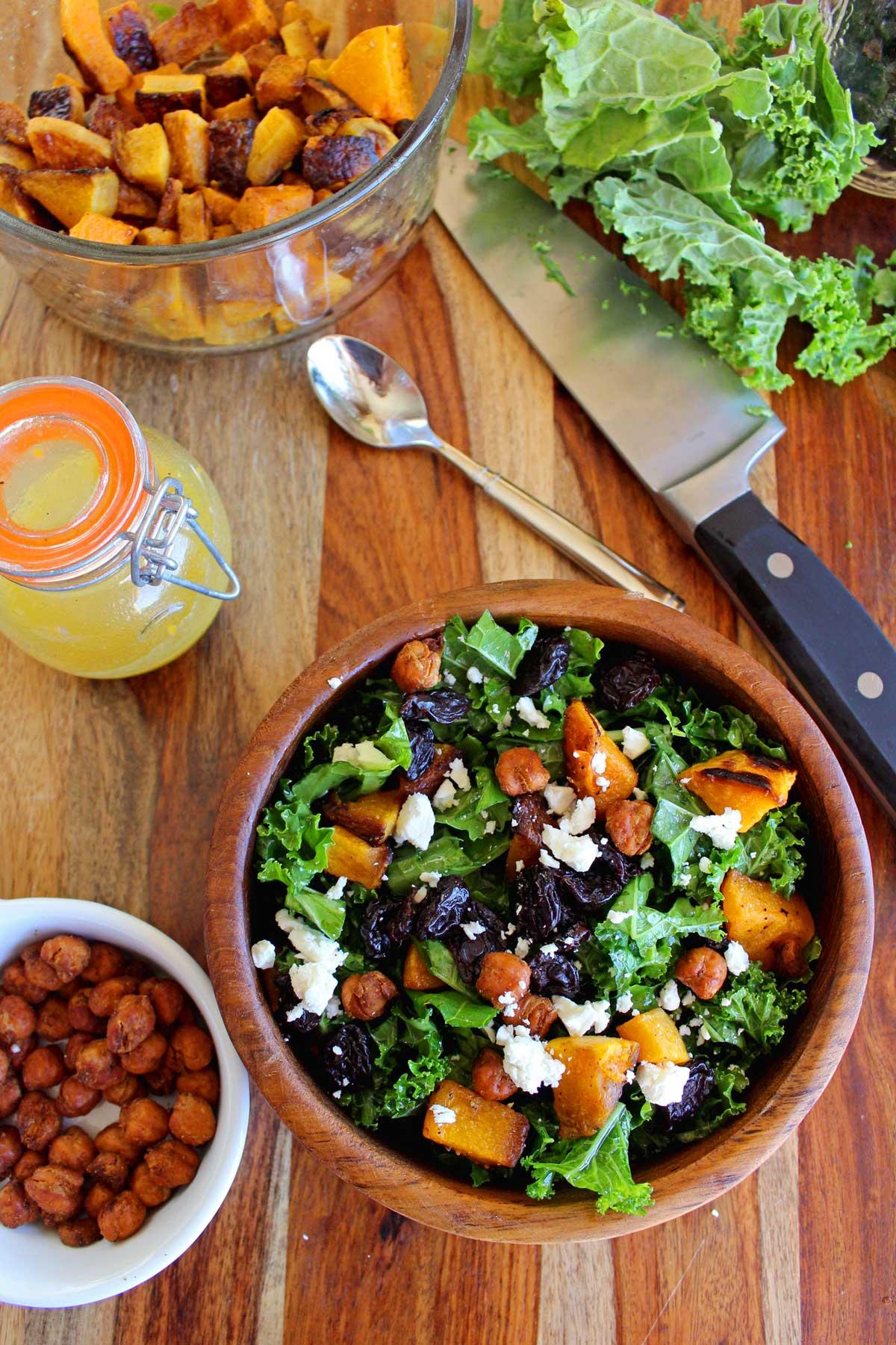prepared butternut squash kale salad