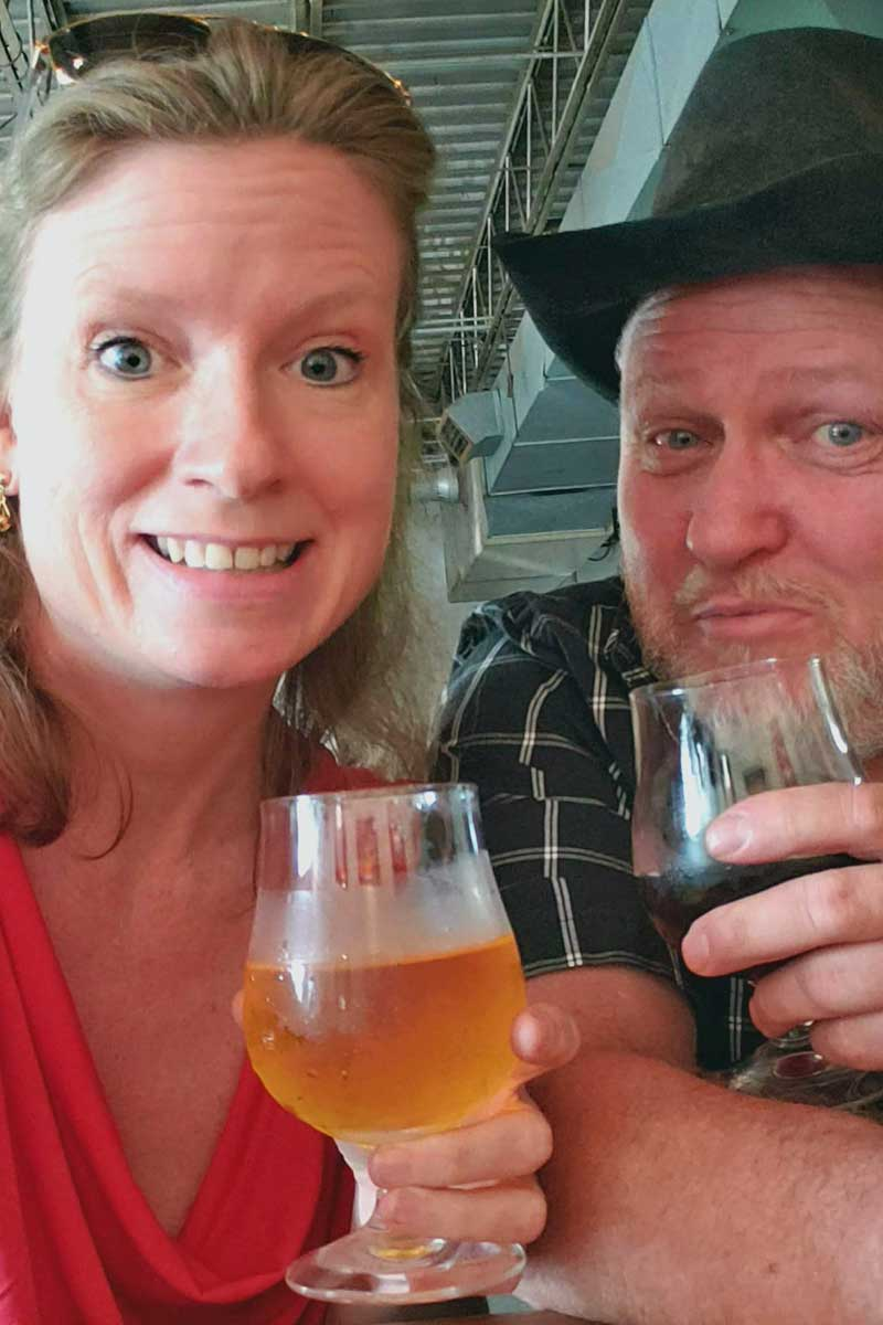 Debbie and David having a beer on Field Trip Friday