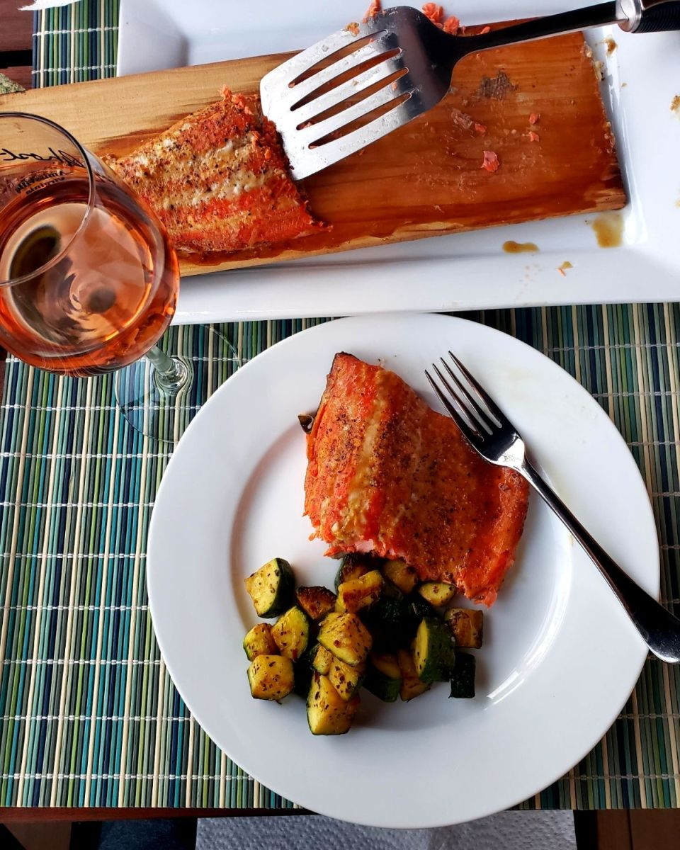 Field Trip Friday cedar plank smoked salmon served with wine