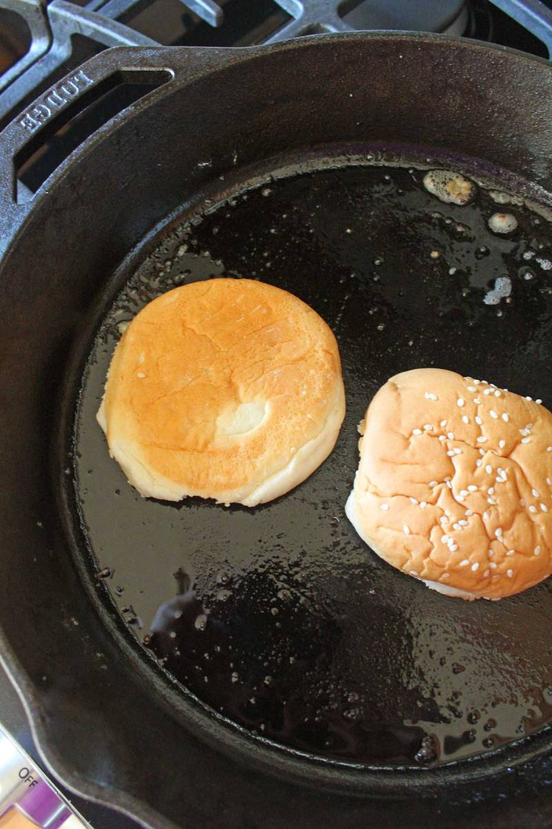 toasting buns in cast iron pan
